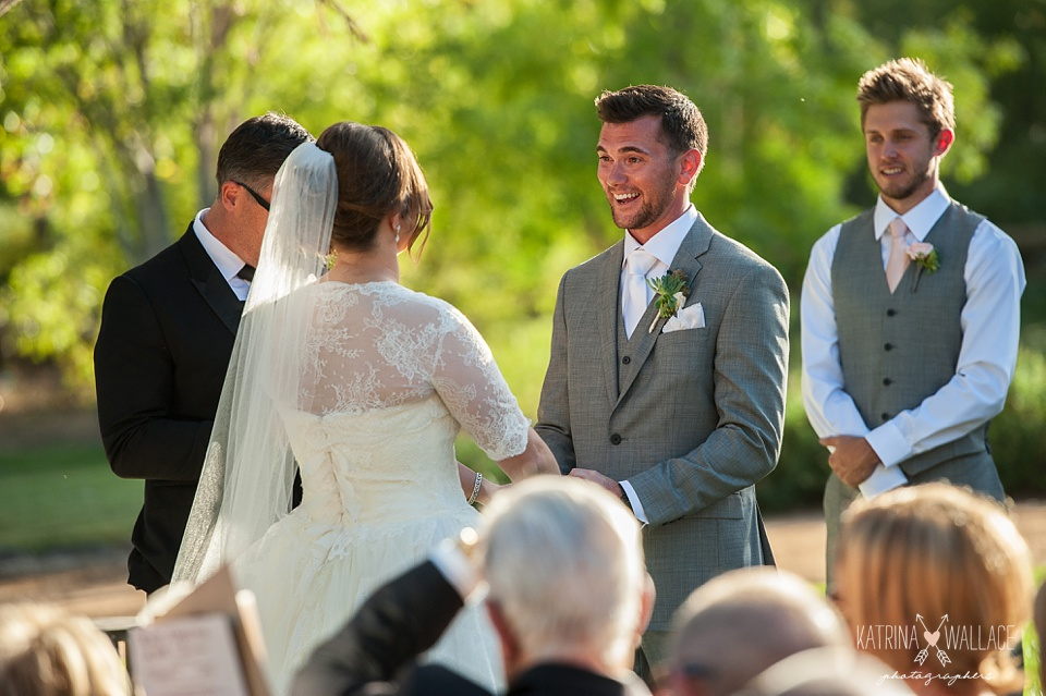 emotional groom at a Dancing Apache Lodge wedding