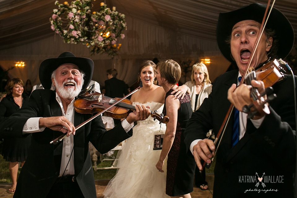 band plays for bride
