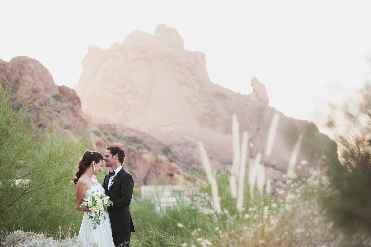 Sanctuary Resort wedding photo with Monk Mountain
