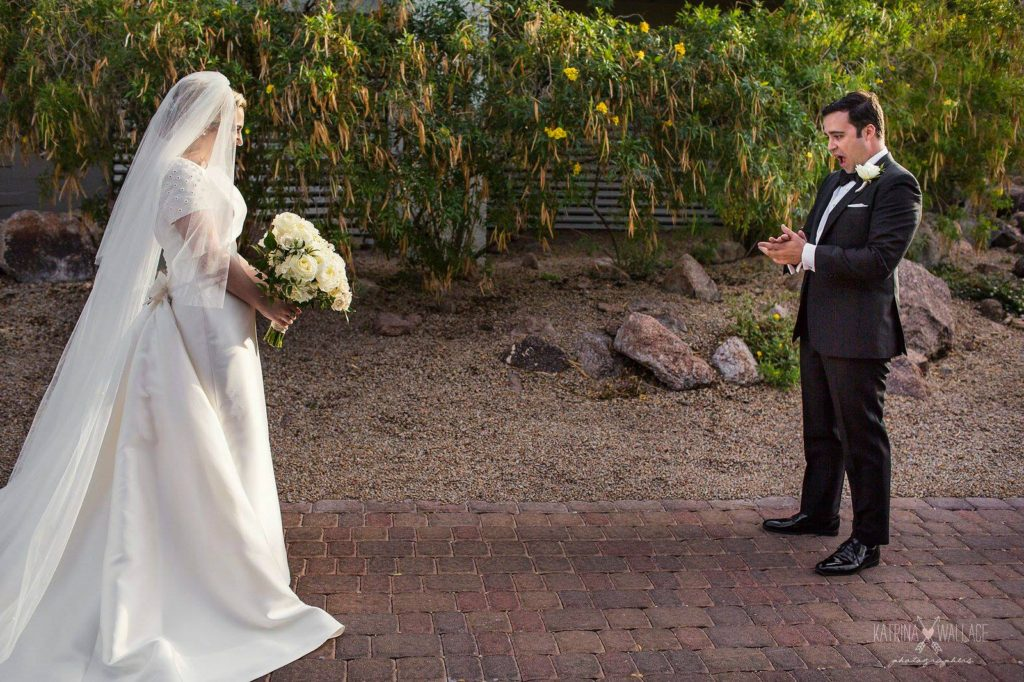 Sanctuary wedding bride and groom first meeting