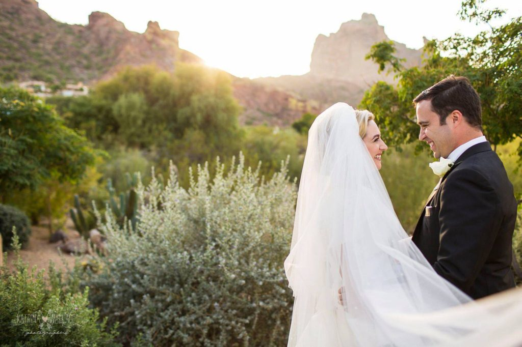 Sanctuary wedding bride and groom romantic portraits