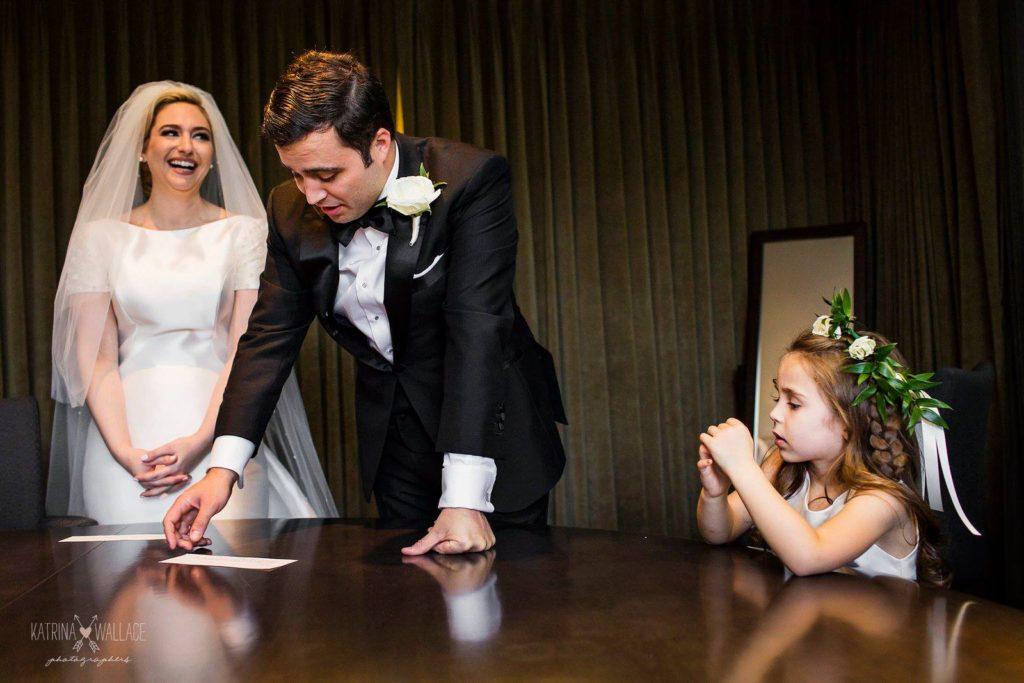 Sanctuary Jewish wedding bride and groom bedekken