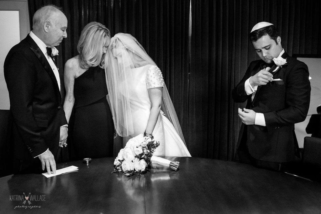 Sanctuary Jewish wedding bride and groom bedekken