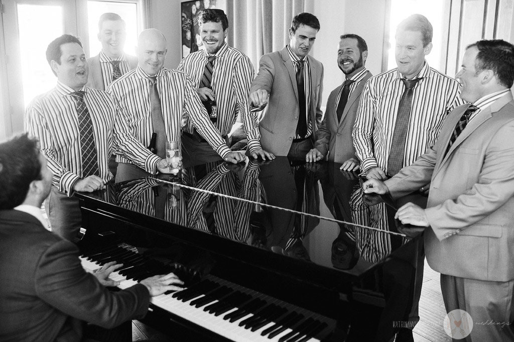 Before the ceremony at Brophey Chapel, Alex serenades his groomsmen on his grand piano