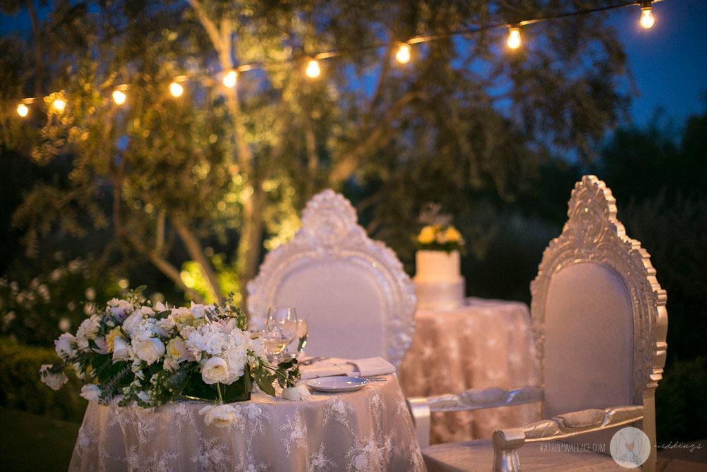 El Chorro dinner reception details bride and groom table
