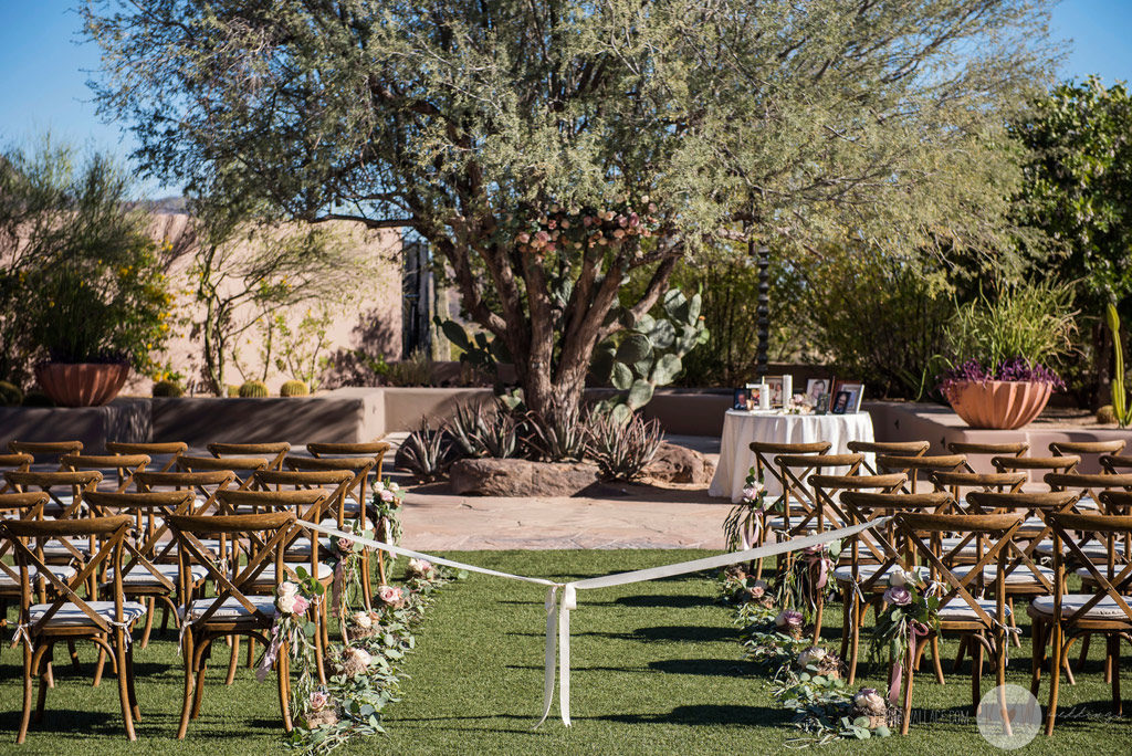 The Four Seasons Scottsdale ceremony site awaits family, friends, guests, and the bride and groom