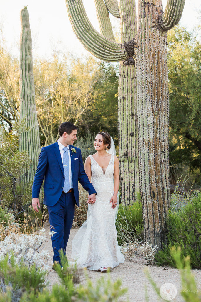 The bride and groom steal a moment of solitude after a long so far of preparation and a heartfelt ceremony at the Four Seasons Scottsdale.